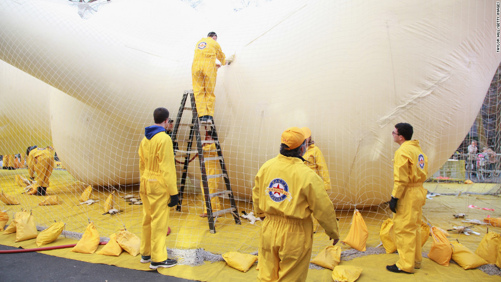 Crew members work on a balloon on Wednesday.