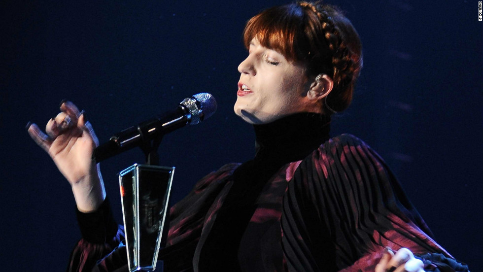 Florence and the Machine's Florence Welch sings at a concert on November 20 in Milan.