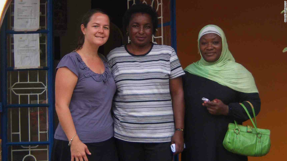 Karen Yeates (left) with colleagues Agnes Mtambo and Zahara Mahmoud, at the Pamoja Tunaweza Women's Centre in Moshi, Tanzania. Yeates is leading a project to improve cervical cancer screening in rural parts of the country.