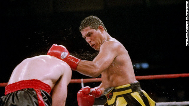 19 Jun 1993: Hector Camacho, right, lands a punch on opponent Tom Alexander in a 1993 match.