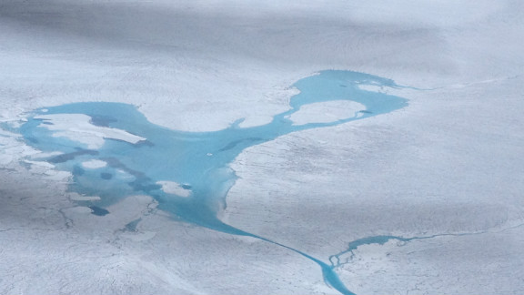 A massive meltwater pool en route to the radar survey area. Nasa images showed unprecedented surface melt in the arctic this year.