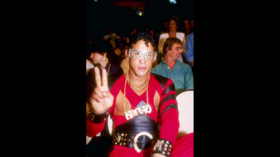 Camacho gives the peace sign while watching a 1991 bout between Julio Cesar Chavez and Lonnie Smith in Las Vegas. Camacho was considered a promoter