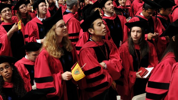 Harvard University students attend their commencement ceremony in June 2009 in Cambridge, Massachusetts.