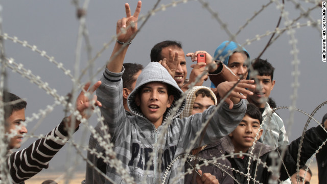 Palestinian youths demonstrate on the Gaza border on Friday.