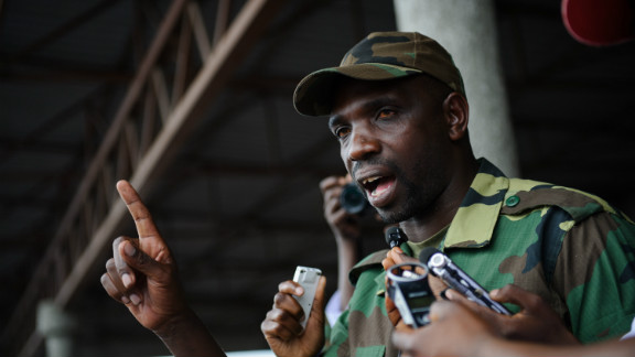 Spokesman of the M23 rebel group Lieutenant-Colonel Vianney Kazarama addresses a crowd at the Volcanoes Stadium in Goma on November 21, 2012.