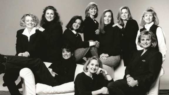 This group of women celebrates Sherry Down's (seated in chair, far right) 40th birthday in the late 1990s.