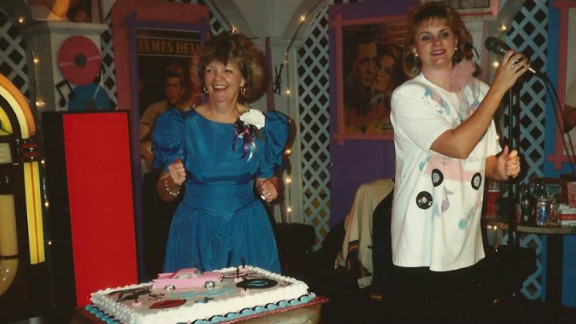 Margaret Wright, left, and Sherry Downs dance in 1993 at Wright's 50th birthday party, which had a '50s theme.