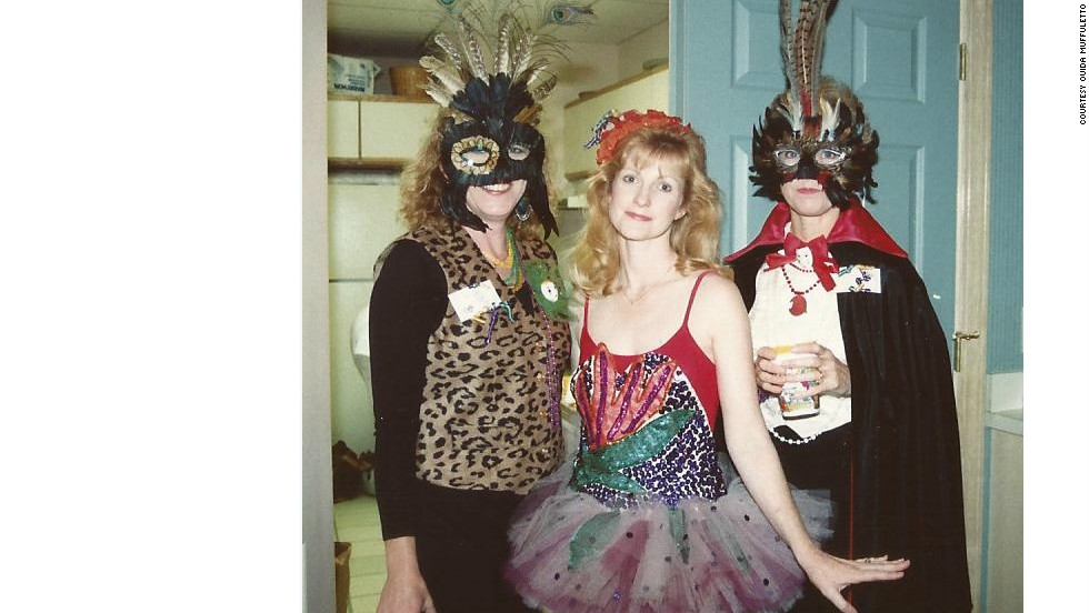 Margaret Collins Jenkins, Ouida Muffuletto and Margaret Wright celebrate Mardi Gras in the mid 1980s.