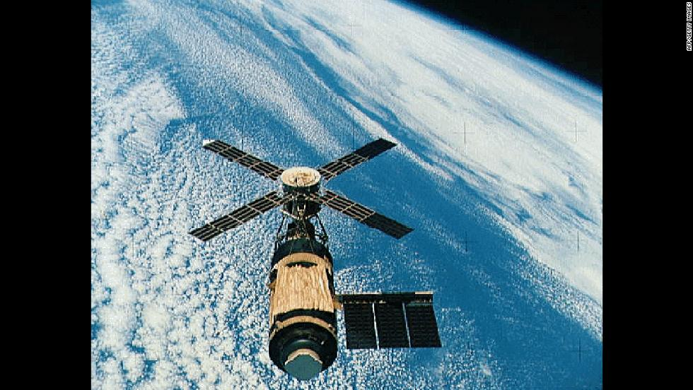 Skylab, the United States' first space station, orbited Earth from 1973 to 1979. The Soviet program had launched their first space station, Salyut, in 1971, and it stayed in space for 15 years.