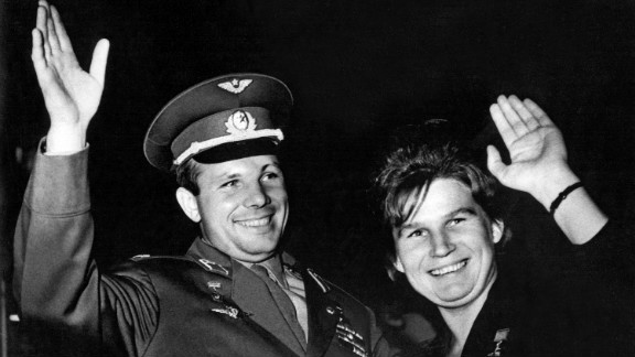 Valentina Tereshkova, seen here with Yuri Gagarin, is the first woman to fly into space. She piloted the Vostok 6 on June 16, 1963.