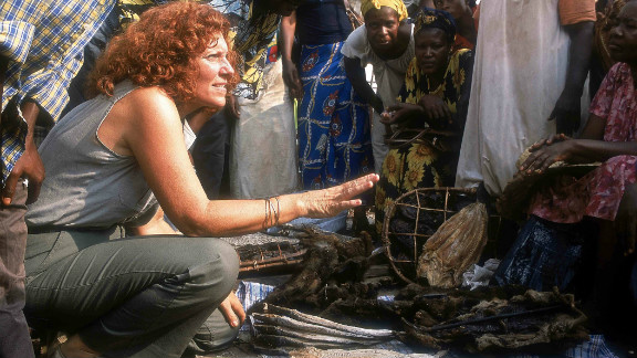 Claudine Andre, left, founded Lola Ya Bonobo in the DRC in the mid-1990s, the world