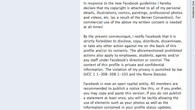 A privacy hoax circulated on Facebook.