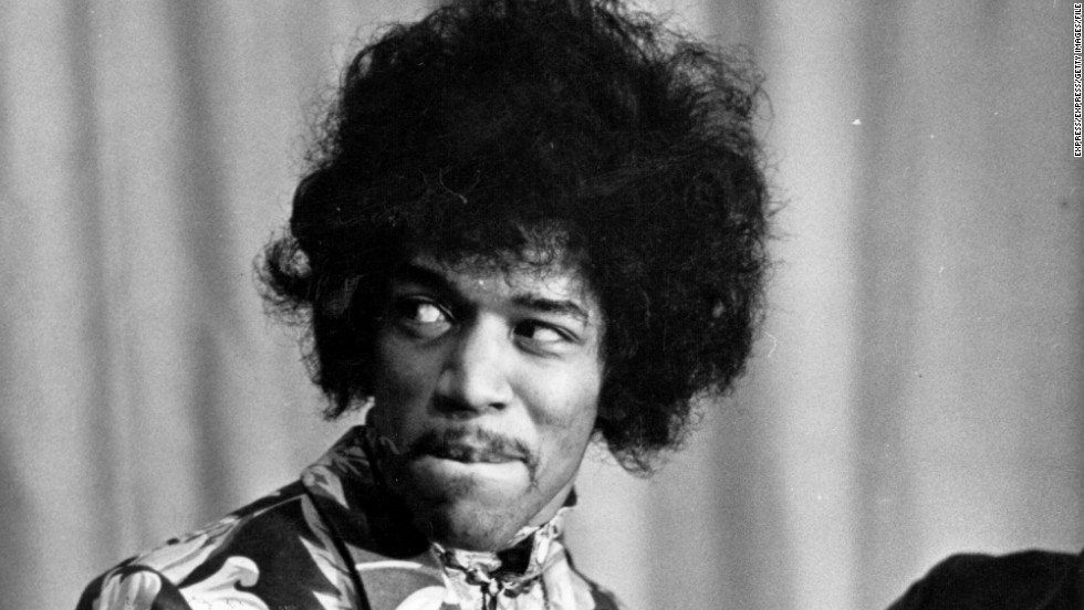 "Seen here in October 1967, Hendrix receives an award from Radio One DJ Jimmy Savile. The Experience's first single, ""Hey Joe,"" was released that year and was a phenomenal hit in the U.K. Another smash, ""Purple Haze,"" and the group's double-platinum first album ""Are You Experienced?"" soon followed."