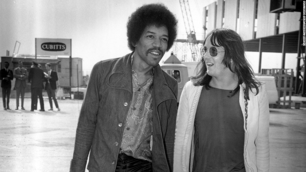 "Here, Hendrix walks through the London Airport with Eric Barrett on September 2, 1970, 16 days before he died at the age of 27. His talent and contributions to both music and style have lived on, however, and musician Andre 3000 is lined up to portray Hendrix in a 2013 biopic, <a href=""http://www.imdb.com/title/tt2402085/"" target=""_blank"">""All Is By My Side.""</a>"