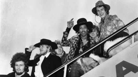 Here, Jimi Hendrix and drummer Mitch Mitchell board a plane in London in 1968, along with various members of the Byrds, the Soft Machine and the Alan Price Set. The Experience disbanded in 1969, but that same year Hendrix gave a memorable performance at Woodstock.
