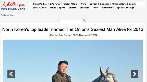 """A Chinese state-run site was fooled Tuesday by a satirical story that declared North Korea's Kim Jong Un the """"sexiest man alive."""""""