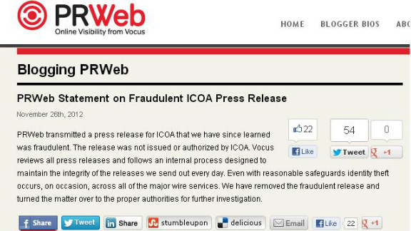 """PR Web issued a retraction of its Google-ICOA post, saying that """"even with reasonable safeguards"""" it was a hoax."""