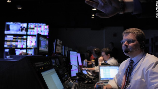 "Washington Bureau Chief Sam Feist behind the scenes during CNN's ""Election Night in America."""