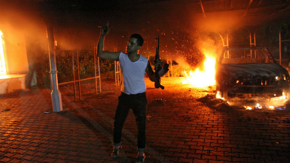 Buildings and cars burn after the U.S. consulate in Benghazi, Libya, was attacked on September 11.