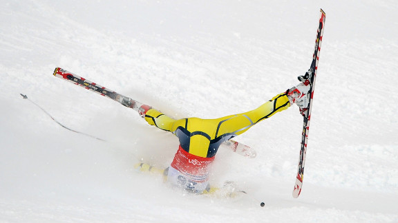 Lotte Smiseth Sejersted of Norway crashes during the Audi FIS Alpine Ski World Cup women's downhill on February 18 in Sochi, Russia.