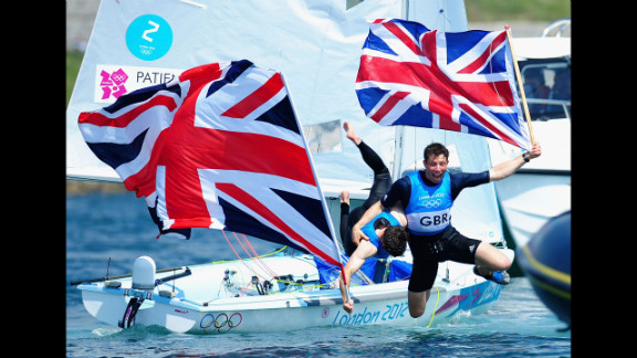 Luke Patience, left, and Stuart Bithell of Great Britain celebrate after finishing second and winning the silver medal in the men