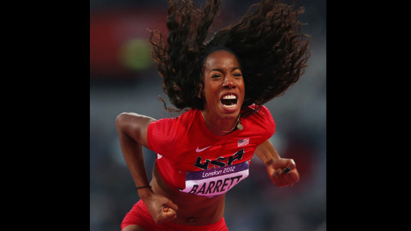 Brigetta Barrett of the United States celebrates after a jump during the women