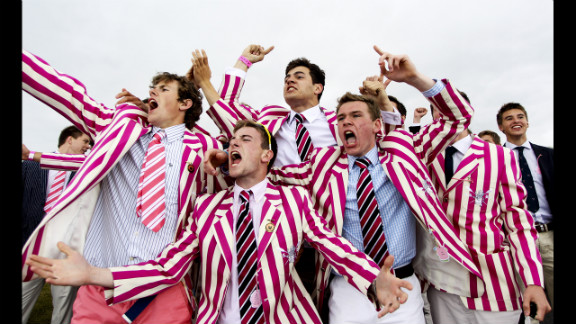 Spectators celebrate Abingdon School winning The Princess Elizabeth Challenge Cup, a rowing event, during the fifth day of the 2012 Henley Royal Regatta on July 1 in Henley-on-Thames, England.