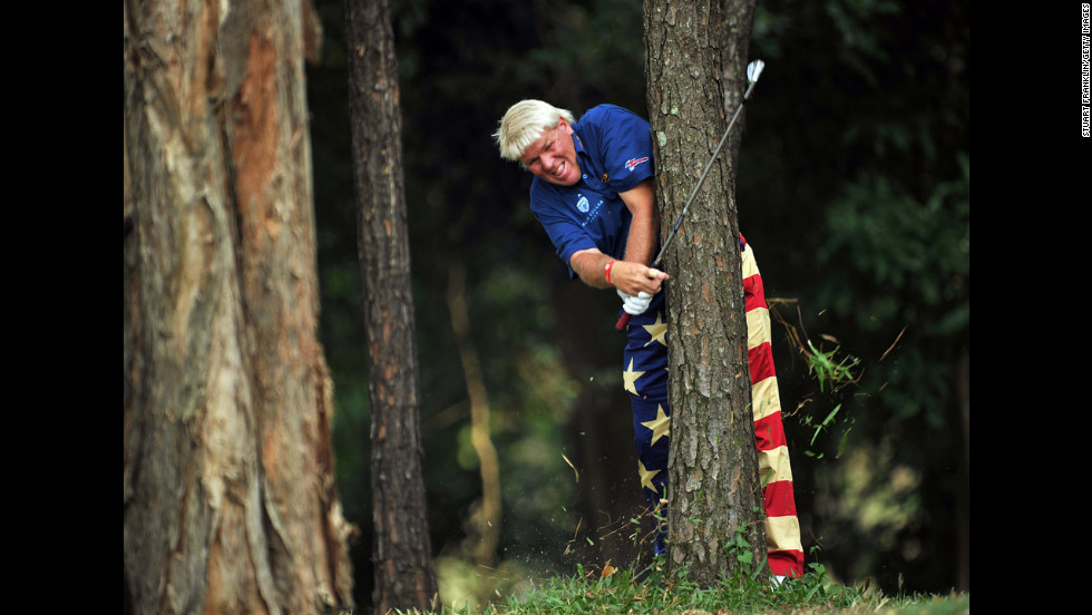 John Daly of the United States plays a shot from the trees during the first round of the UBS Hong Kong Open on November 15.