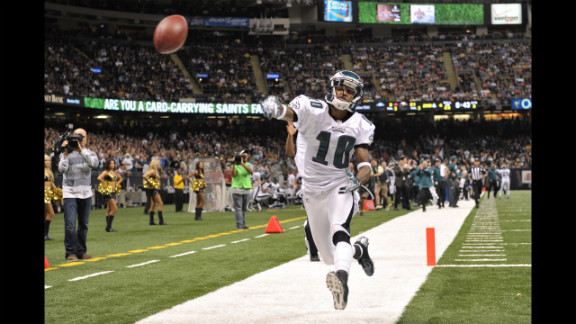 DeSean Jackson of the Philadelphia Eagles celebrates a touchdown during the game against the New Orleans Saints on November 5 in New Orleans. The Saints won 28-13.