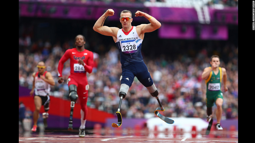 Richard Whitehead of Great Britain celebrates winning gold in the Men's 200-meter T42 final on Day 3 of the London 2012 Paralympic Games on September 1.