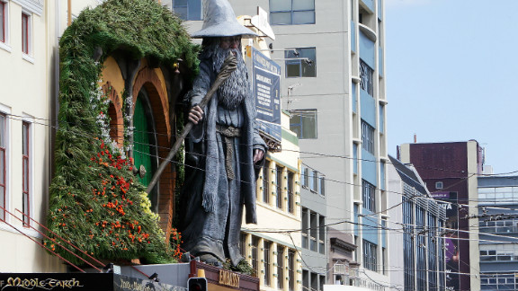 """A giant statue of """"Gandalf"""" looms over Wellington's Embassy Theater, as it prepares to welcome the cast of """"The Hobbit"""" for the world premiere."""