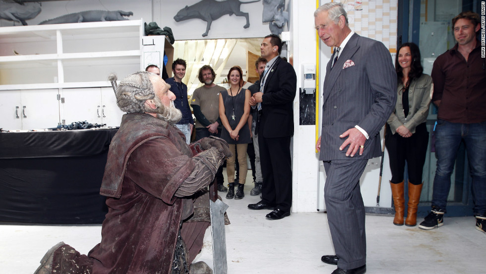 "Even Britain's Prince Charles got into the spirit when he met Mark Hadlow who plays the character ""Dori"" at Wellington's Weta Workshop earlier this month."