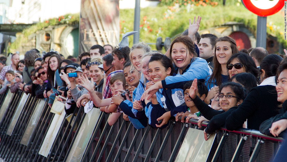 Fans crowd in along the red carpet to catch a glimpse of the stars of the film.