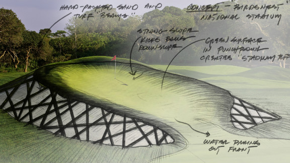 The Birds Nest Stadium which hosted the 2008 Summer Olympics is the inspiration for one of the greens on the new course.