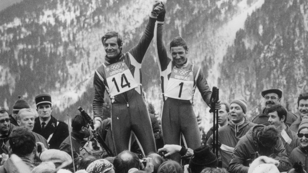 Killy (left) won all three disciplines at the 1968 Winter Olympics (downhill, giant slalom, and slalom) but retired at the age of 24. Like Oreiller, Killy tried his hand at motor racing, competing in the Paris-Dakar rally.