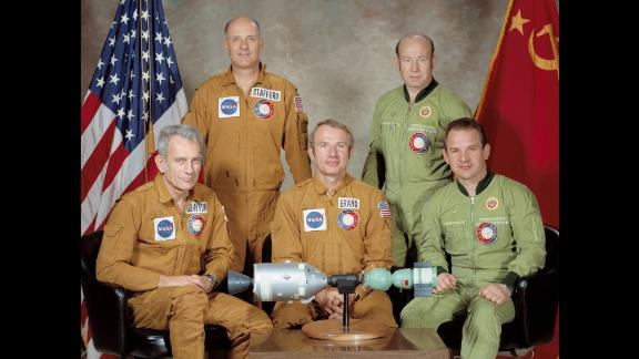 On July 15, 1975, Cold War adversaries temporarily broke the thaw when the United States and the Soviet Union embarked on their first joint space mission. Russia