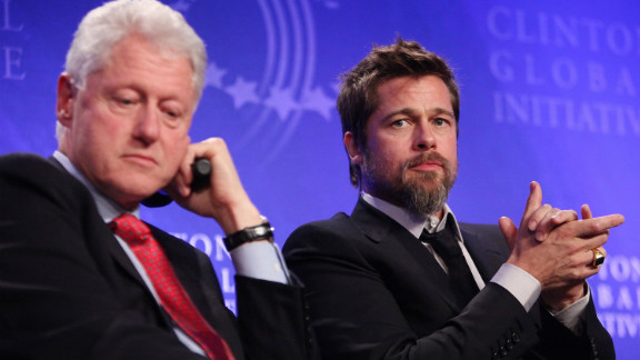 Pitt's influence has stretched beyond Hollywood and into politics. Here, the actor appears alongside former President Bill Clinton at 2009's Clinton Global Initiative meeting to discuss New Orleans after Hurricane Katrina.