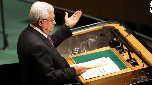 NEW YORK, NY - NOVEMBER 29: Palestinian Authority President Mahmoud Abbas addresses the General Assembly at the United Nations before a UN General Assembly vote on upgrading the status of the Palestinians to non-member observer state on November 29, 2012 in New York City. With many European nations in favor, it looks certain that the Palestinians will win the coveted U.N. recognition as a state today.