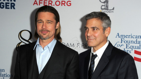 """Pitt is also a passionate advocate for marriage equality. He and his pal George Clooney appeared in a play about the issue in March 2012, and he told CNN in November 2012 that marriage is """"one of our last big issues of equality. ... [T]here's a certain faction of our society that is not being included."""""""