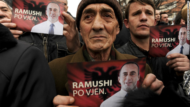 Kosovo Albanians show support for former Prime Minister Ramush Haradinaj at a gathering in Pristina on January 12.