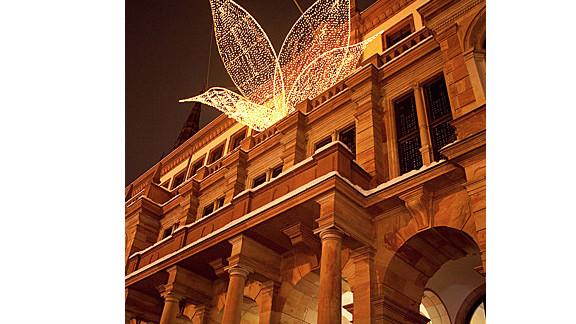 Flowers of lights adorn a building at Wiesbaden's Christmas Market.