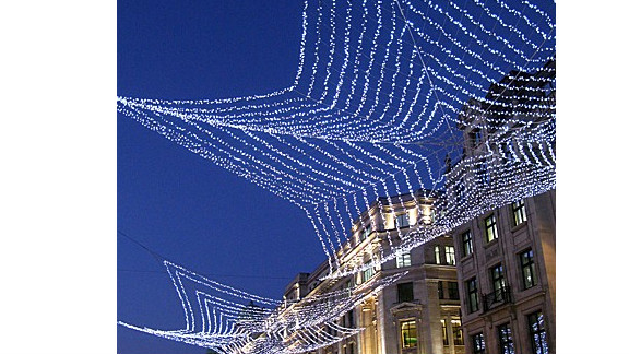 A tasteful arrangement of Christmas lights in London.