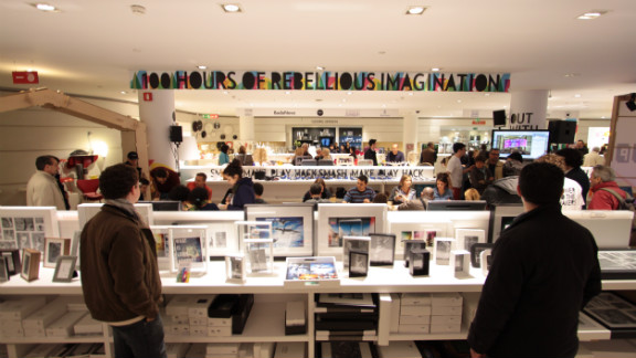 """""""Makers"""" events and open spaces, also known as """"hackspaces"""" have sprung up all over the world in recent years. At a recent event in Milan, one banner reads """"hours of rebellious imagination"""", while another says """"play, smash, make, play, hack."""""""