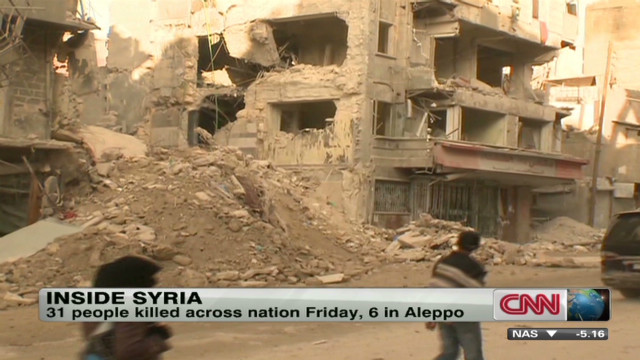 Aleppo power out, rubble everywhere