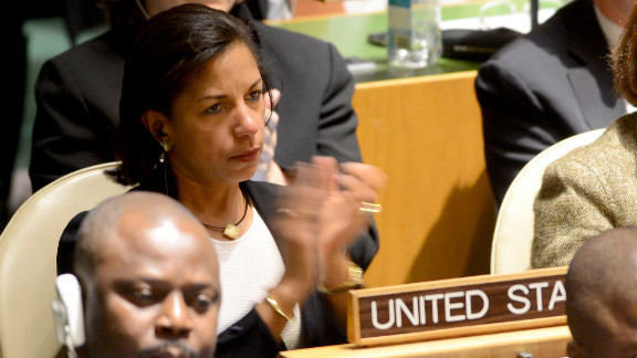 Susan Rice, U.S. ambassador to the United Nations, applauds the speech of Ron Prosor, Israeli ambassador to the United Nations, before the vote.