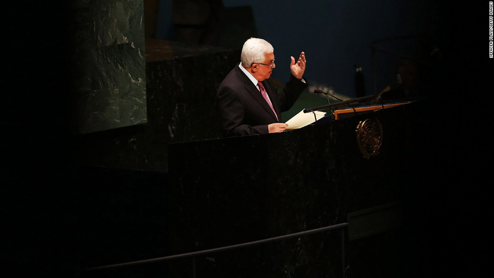 Mahmoud Abbas makes his argument before the General Assembly.