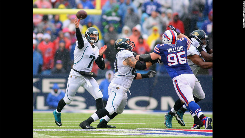 Chad Henne of the Jacksonville Jaguars throws against the Buffalo Bills on Sunday.