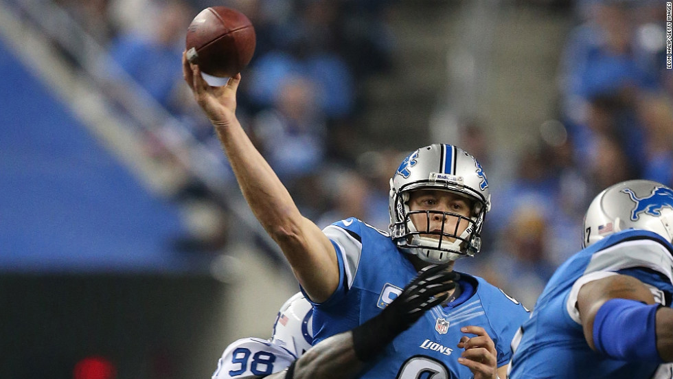 Robert Mathis of the Indianapolis Colts hits Matthew Stafford of the Detroit Lions on Sunday at Ford Field in Detroit.