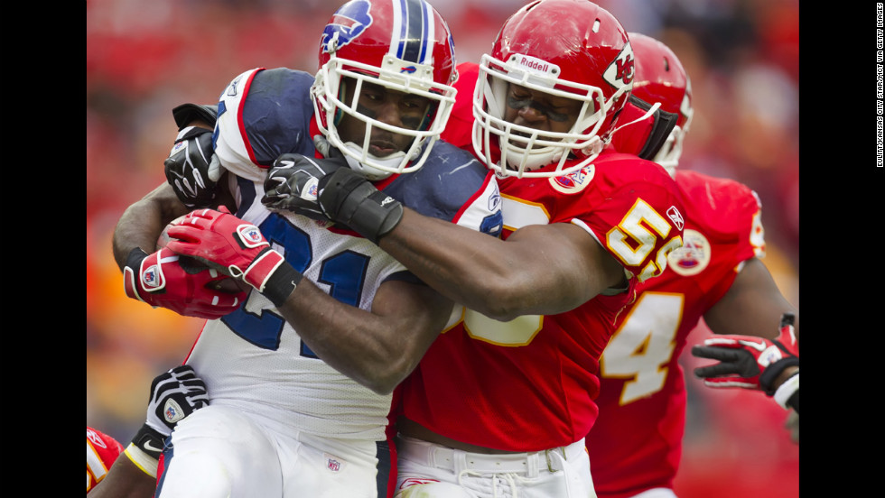Belcher brings down Buffalo Bills running back C.J. Spiller in the third quarter at Arrowhead Stadium on October 31, 2010.