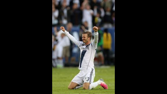 Beckham celebrates in the second half.